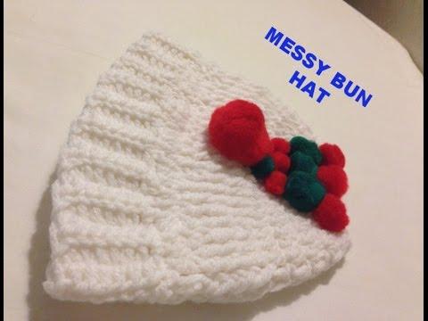 Crochet Christmas Messy Bun Hat Tutorial Youtube