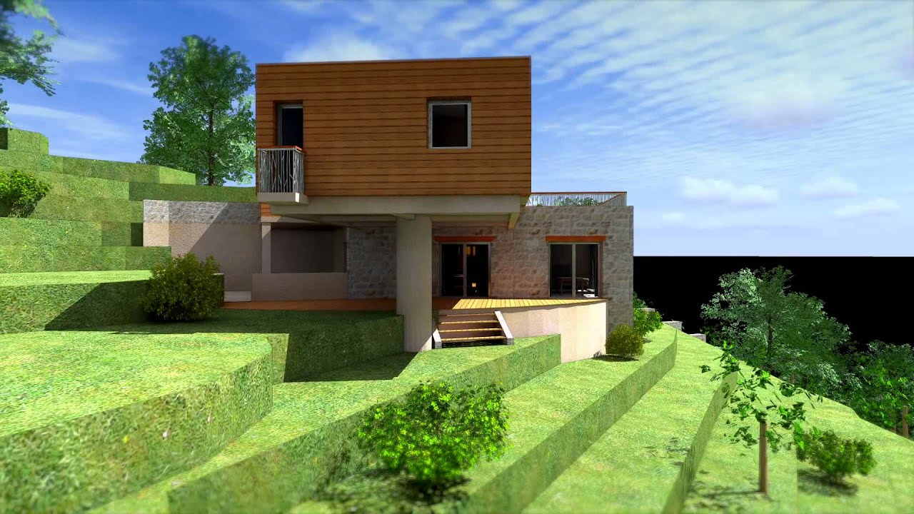 Villa contemporaine bio climatique bbc ecologique ossature for Maison en brique monomur