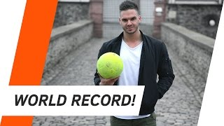 HANDSTAND WORLD RECORD-  LONGEST DISTANCE A BALL WAS CAUGHT IN A HANDSTAND | ANDILETICS