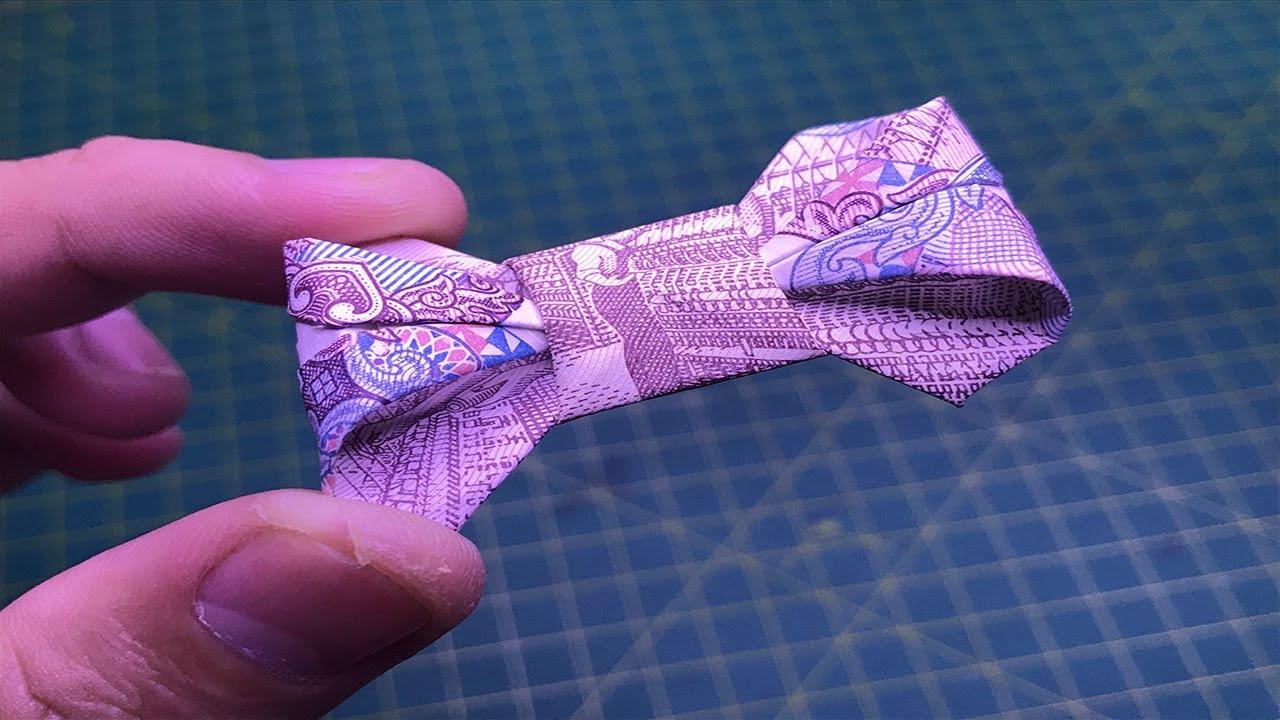 Origami hướng dẫn cách làm nơ bằng tiền giấy money origami bow tutorials