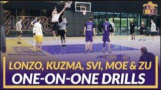 Lakers Practice: Lonzo, Kuzma, Svi, Wagner, and Zubac Do 1-on-1 Drills