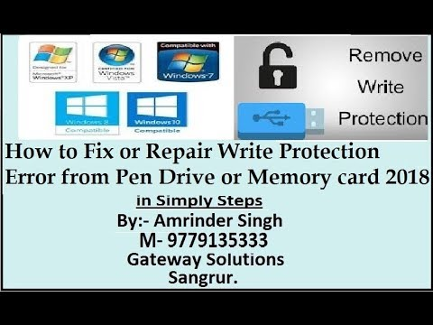 How to Fix or Repair Write Protection Error from Pen Drive or Memory card 2018