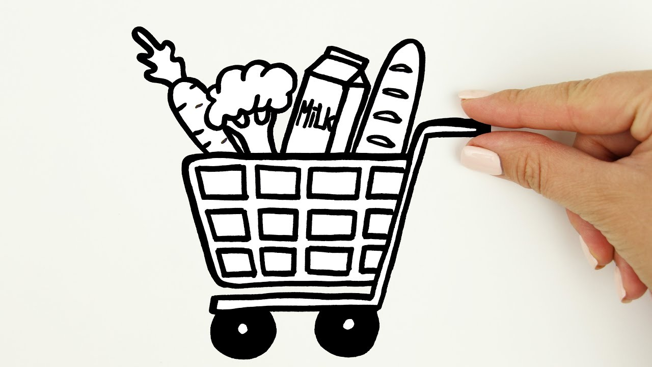 It's just an image of Zany Shopping Cart Drawing