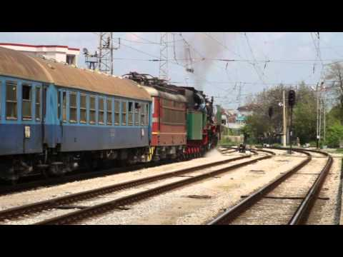 Bulgarian State Railways Class 03.12 locomotive departs from Ruse Station; April 30, 2011