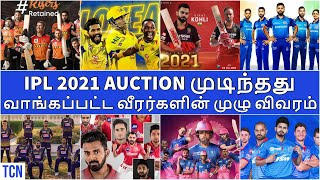 IPL 2021 Auction Tamil|Updated Squad List of all teams| CSK MI RCB RR DC KXIP KKR SRH|IPL NEWS TAMIL