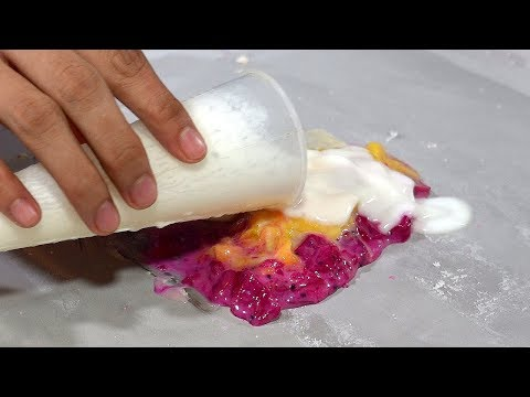 Dragon Fruit + Mango Ice Cream Rolls, Choice 2 from 18 Fruits – Vietnam Street Food