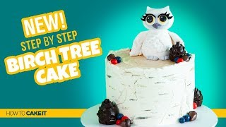 How To Make A Simple Buttercream Birch Tree Cake by Cassie Garner | How To Cake It Step By Step