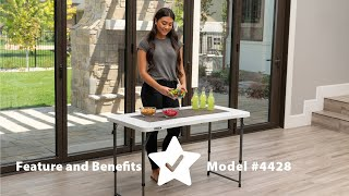 Lifetime 4-foot light commercial adjustable fold-in-half tables are constructed of high-density polyethylene and have three height settings. they ...