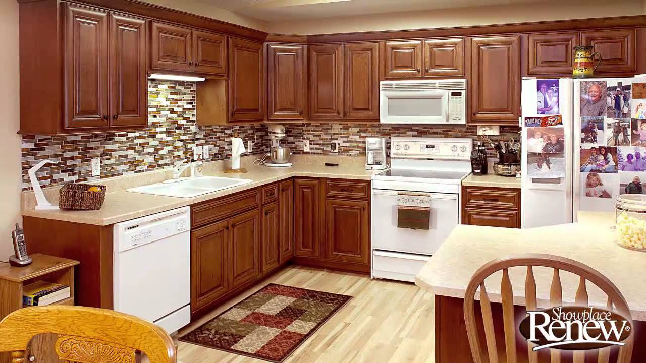 from basic oak to elegant cherry with renew cabinet refacing youtube - Golden Oak Kitchen Design Ideas