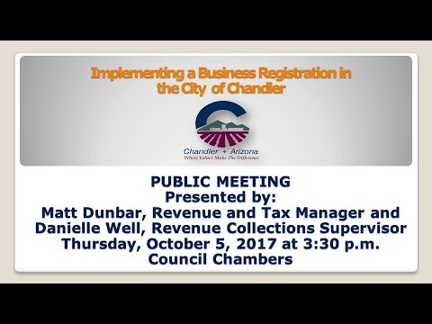 Implementing a Business Registration in the City of Chandler