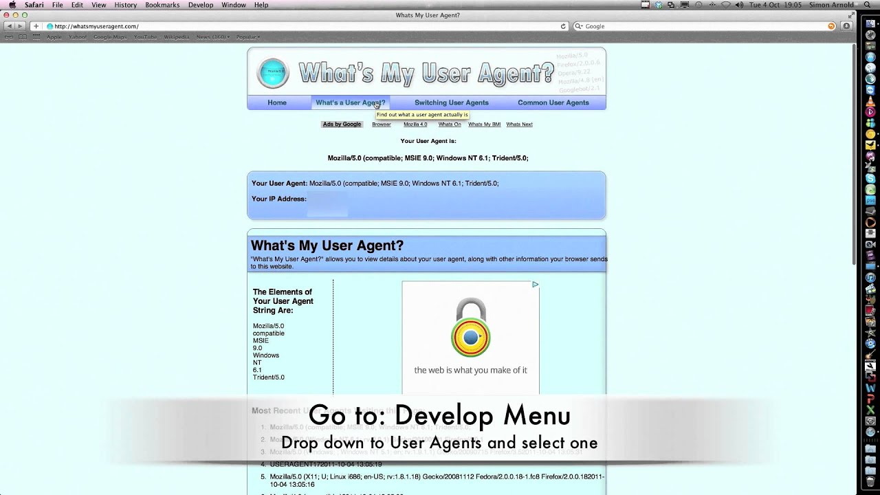 How to change your User Agent in Safari (Windows or Mac)