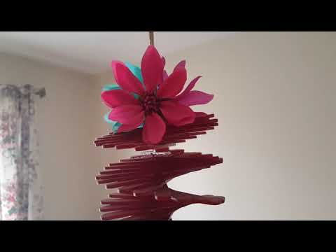 DIY wind chime spinner out of popsicle sticks