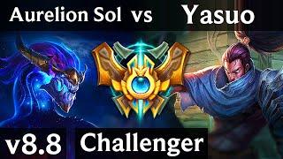 AURELION SOL vs YASUO (MID) ~ Legendary, Perfect KDA 12/0/5 ~ Korea Challenger ~ Patch 8.8