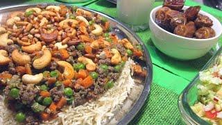 Арабский плов Уузи с мясным фаршем, морковью и зеленым горошком