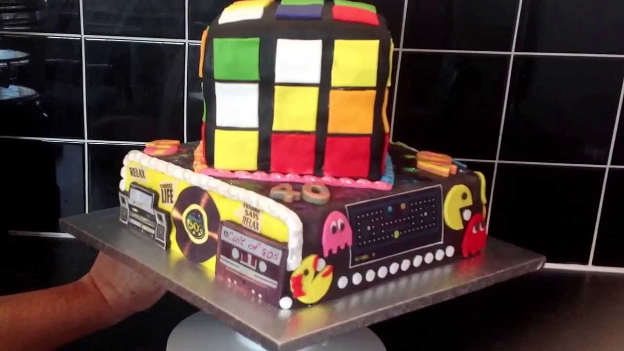 80s Theme Birthday Cake Rubiks Cube Pacman Youtube