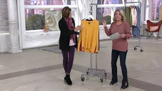 H by Halston V-Neck Boyfriend Sweater with Rib Details on QVC