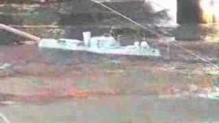 Ship with small rolling on heavy waves in towing tank