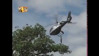 Man clings to helicopter as it lifts off in Bungoma