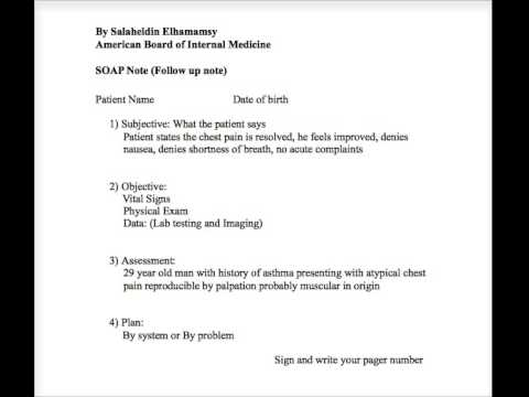 How to write a Soap Note - YouTube - soap note