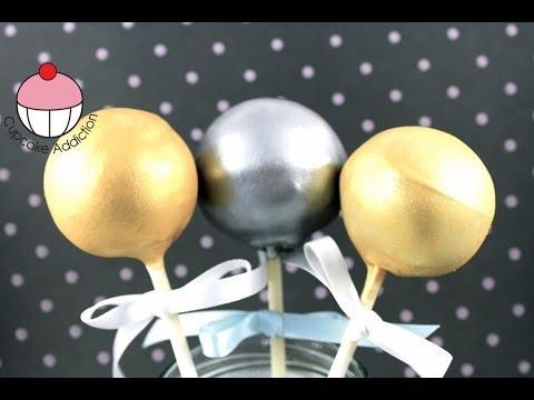 GOLDEN CAKEPOPS! How to Make Metallic Gold & Silver Cake Pops - A Cupcake Addiction Tutorial