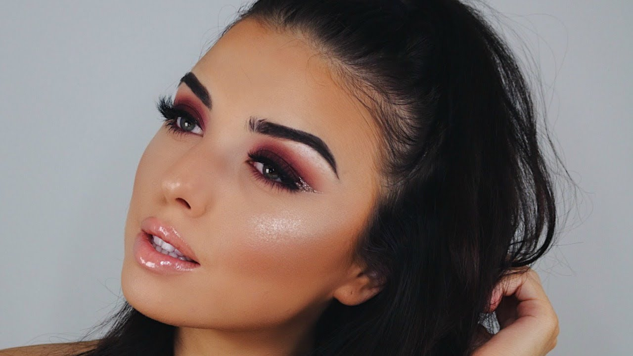 Plum smokey eye   burgundy makeup, skin makeup, eye makeup.