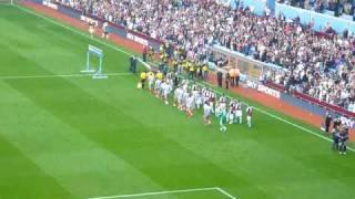 Liverpool & Aston Villa walk out onto pitch