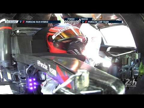 24 Heures du Mans 2017 - Emotion de Timo Bernhard au moment de franchir la ligne d'arrivée