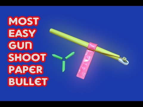 How to make a most SIMPLE Paper Gun without glue that shoots paper bullet