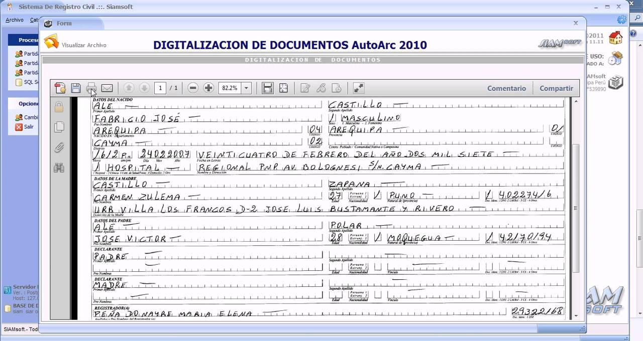 Impresión física de la partida de nacimiento en registro - YouTube
