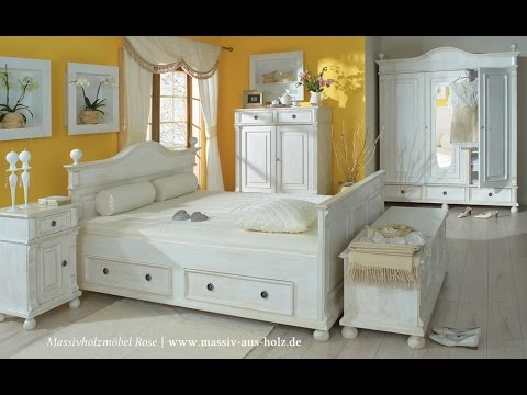 landhausm bel schlafzimmerm bel aus massivholz im shabby chic look youtube. Black Bedroom Furniture Sets. Home Design Ideas