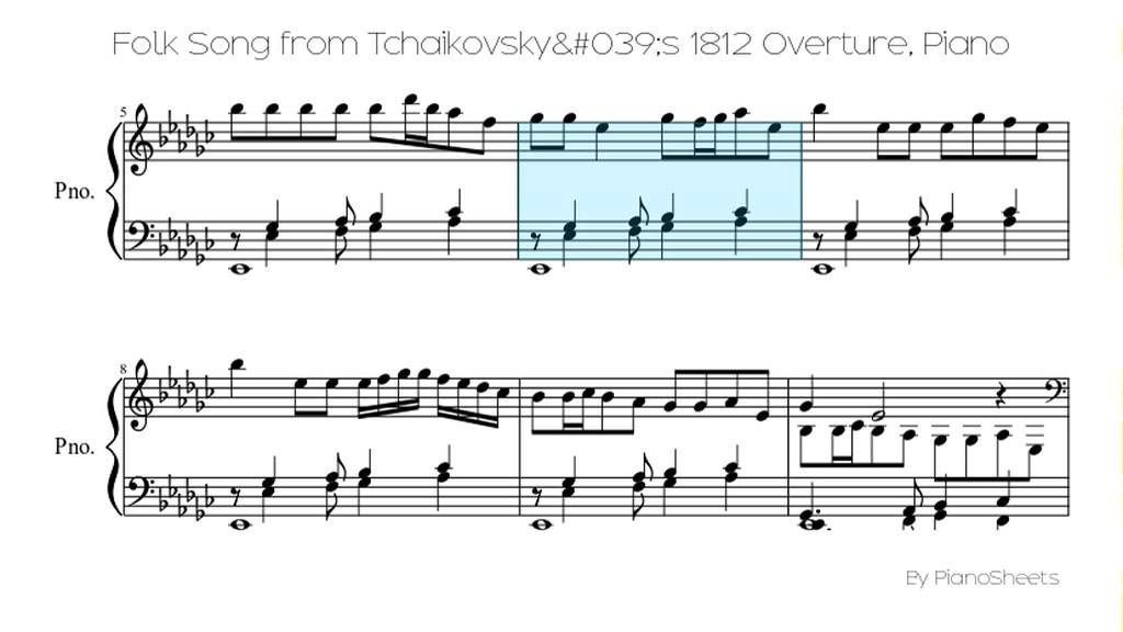 All Music Chords 1812 overture music sheet : Folk Song from Tchaikovsky's 1812 Overture [Piano Solo] - YouTube