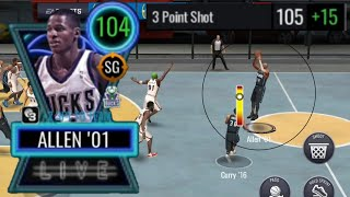 120 3 POINT RATING RAY ALLEN MAKES A HALF COURT SHOT IN NBA LIVE MOBILE 20 GAMEPLAY!!!