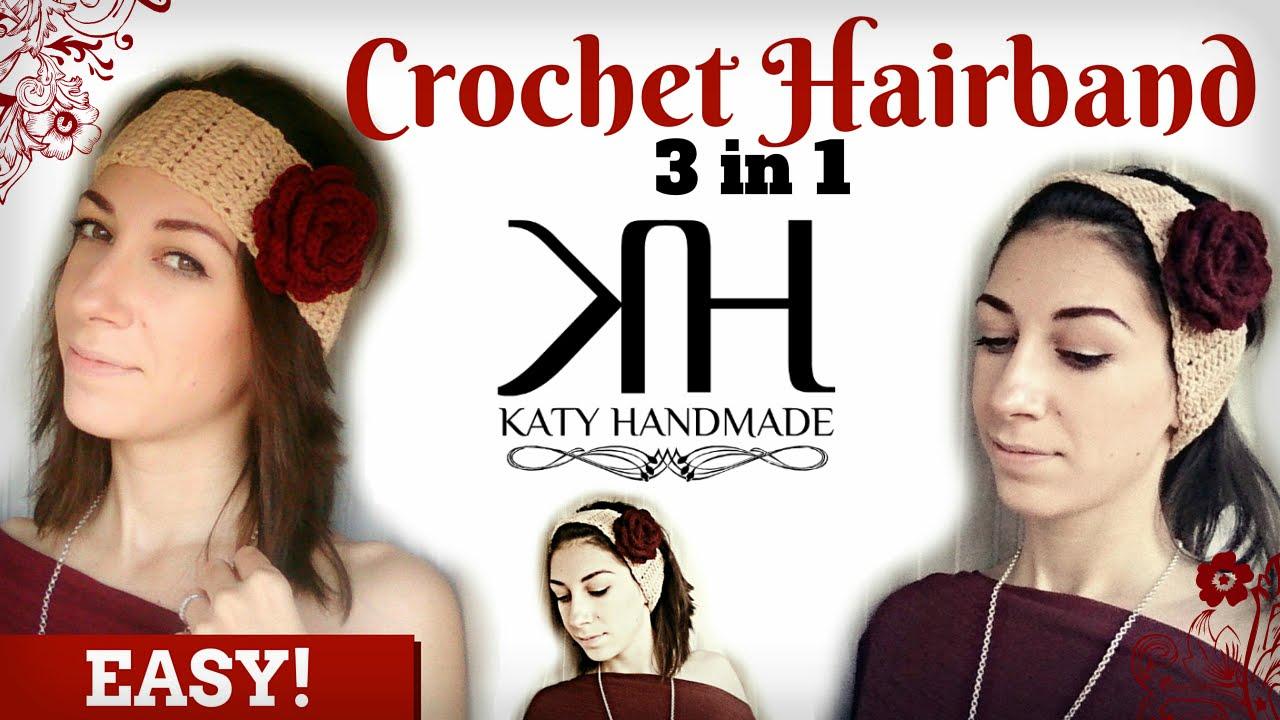 Crochet Hair Band Youtube : ... Uncinetto #16] Fascia per capelli Hair band Crochet - YouTube