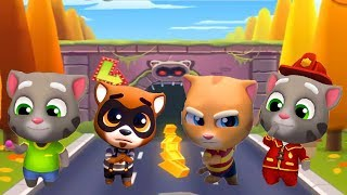 Talking Tom Gold Run Android Gameplay - Fireman Tom vs Talking Tom vs Ginger vs Robber