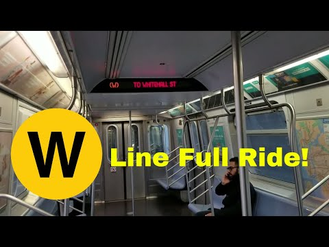 MTA NYC Subway: Riding R160B (W) train from Astoria - Ditmars Blvd - Whitehall St (Full Ride)