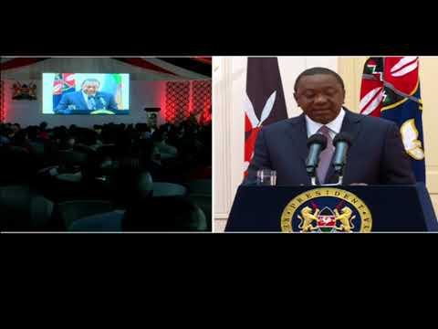 President Kenyatta address the devolution conference from Nairobi