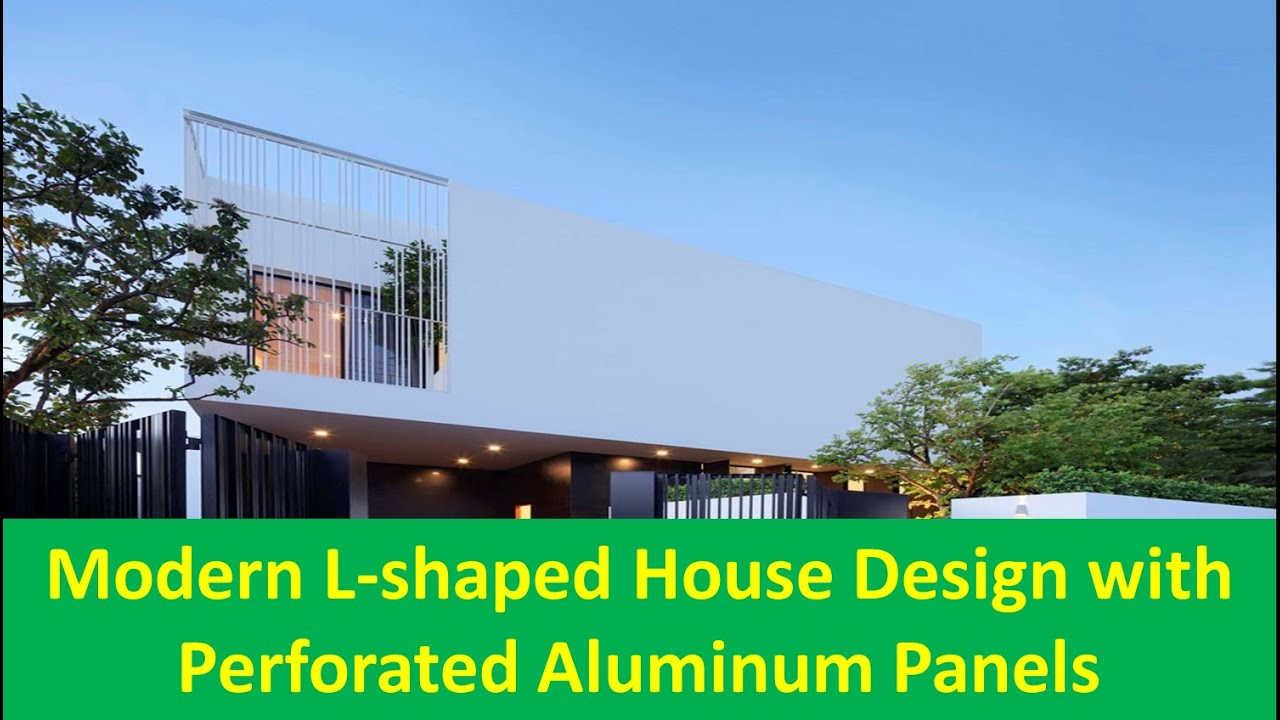 Modern l shaped house design with perforated aluminum panels