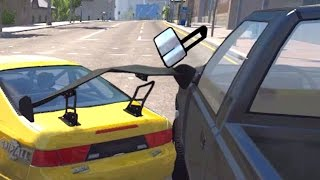 BeamNG drive - Door Mirror High Speed car Crashes