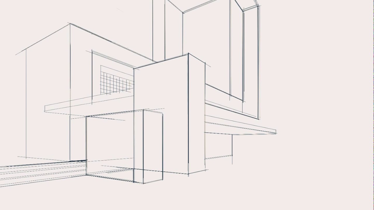 Architecture Sketch Modern House Sketch Simple 2 Point