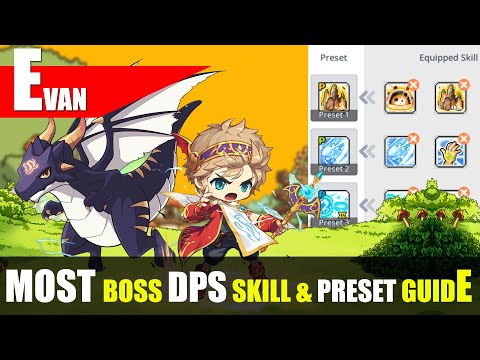 Maplestory M - Evan Most DPS Bossing Skill Rotation And Preset Guide
