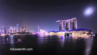 Singapore Bay Sunset Light and Laser Show Timelapse