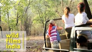 Tourists watch a tiger during Jeep safari in Bandhavgarh national park