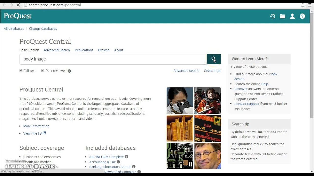 Proquest search database