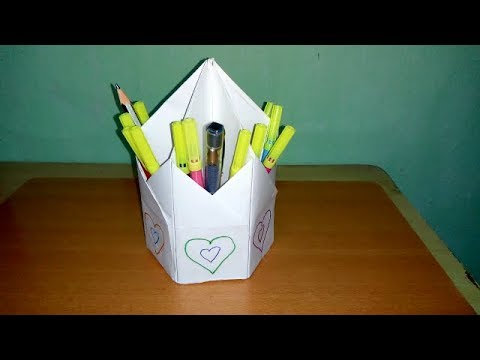 DIY - Origami Pen Holder | How To Make Pen Stand | Origami Pen & Pencil Holder | Easy Paper Craft