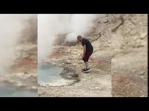 Videos feature a man near thermal feature in Yellowstone National Park