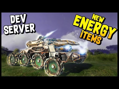 Crossout Dev Server - NEW ENERGY ITEMS Part 2! Synthesis, Wildfire, Red Beam, Spark - Crossout