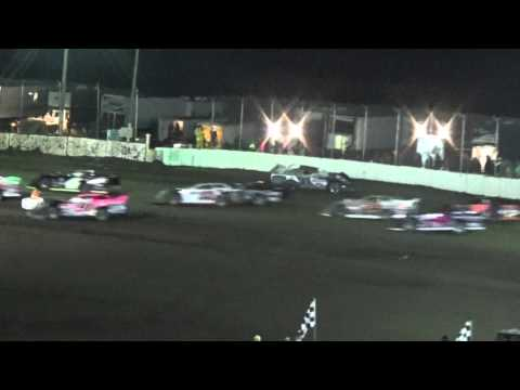 LaSalle Speedway Thaw Brawl 2016 Friday Late Model Feature Lap One Crash