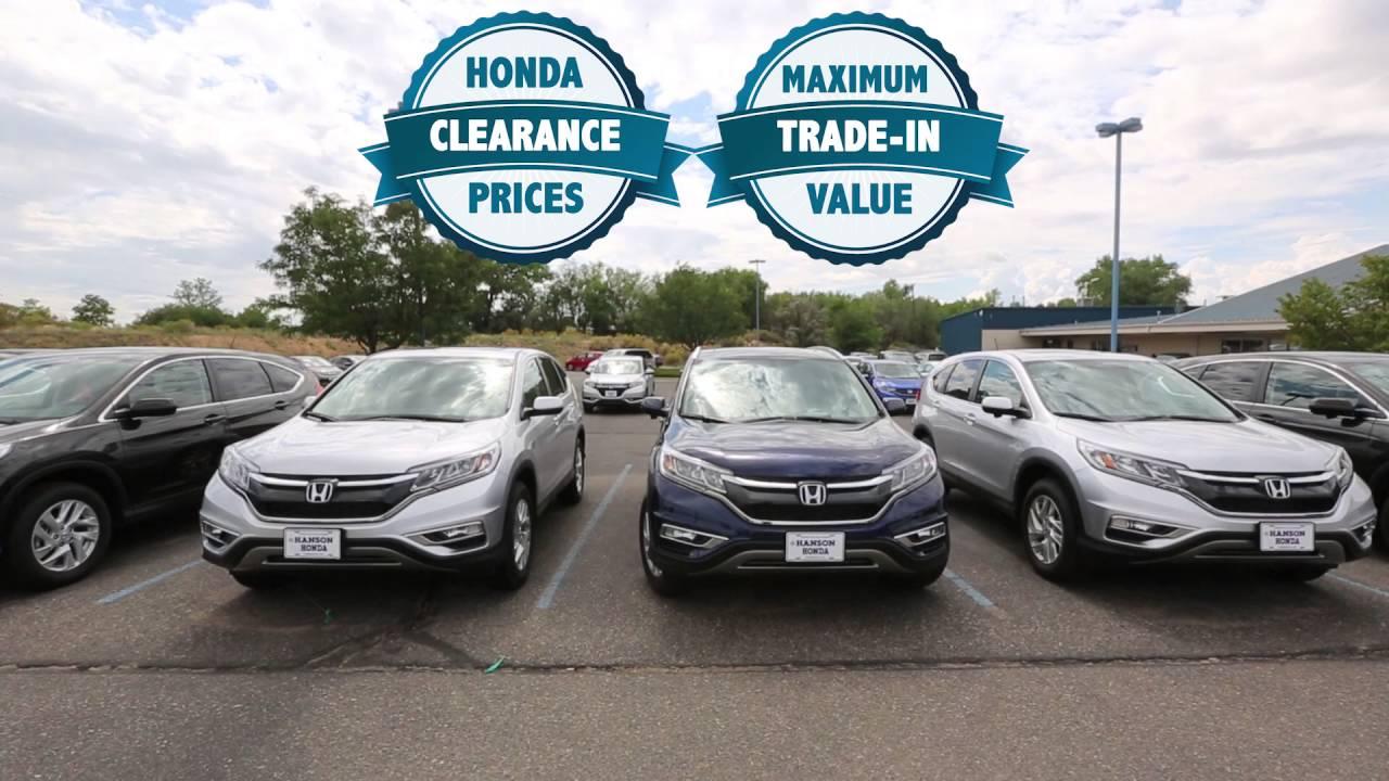 Hanson Honda - Model Year End Clearance 2016v2 - YouTube