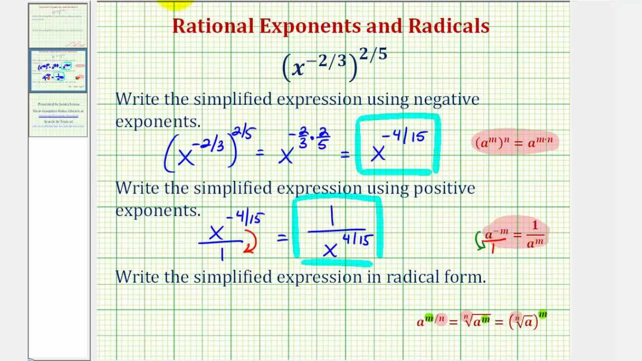 Ex simplify an expression with negative rational exponents and ex simplify an expression with negative rational exponents and write in radical form falaconquin