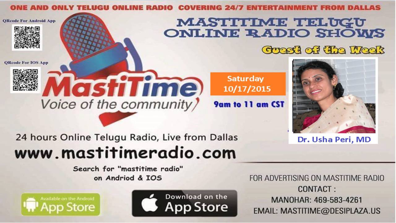 Guest of the week -Dr Usha peri with RJ Swaroopa I Mastitime Radio